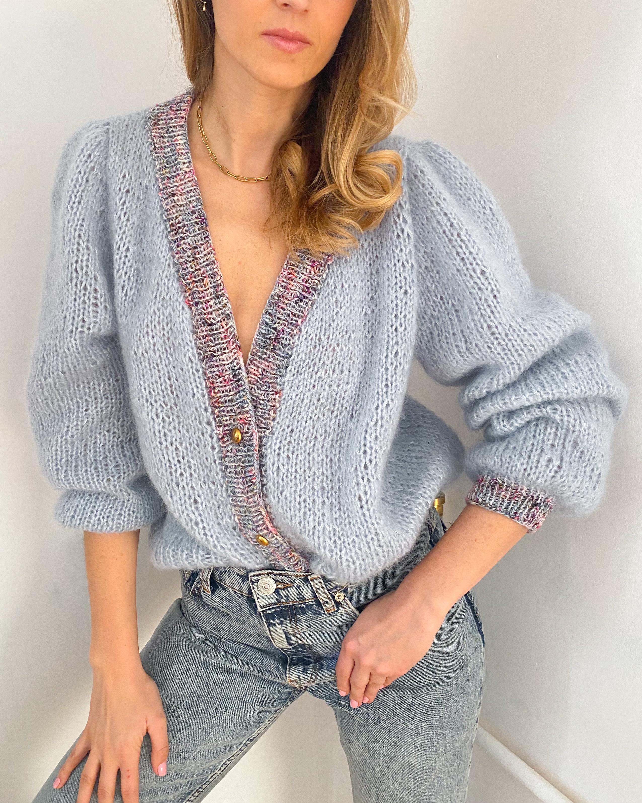 knitted cardigan, mohair cardigan, kardigan, kardigan robiony na drutach, puff sleeves cardigan,