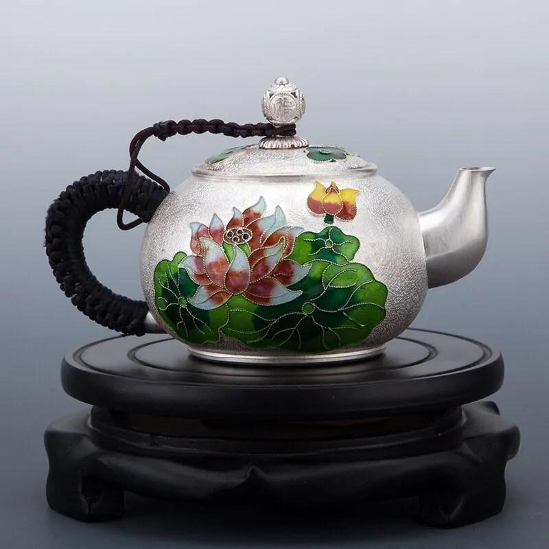 Cloisonne Floral Design Silver Teapot