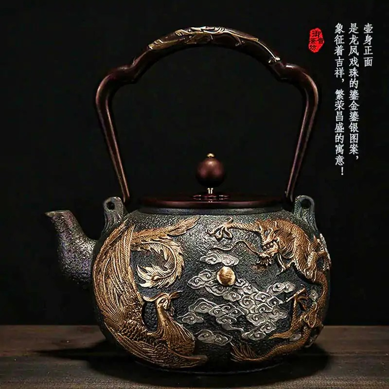 Golden Dragon Embossed Japanese Tetsubin Cast Iron Teapot With Optional Stove