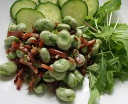 broad bean and bacon salad