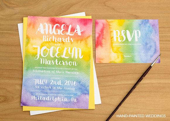 Pride Rainbow Invitation By Hand Painted Weddings