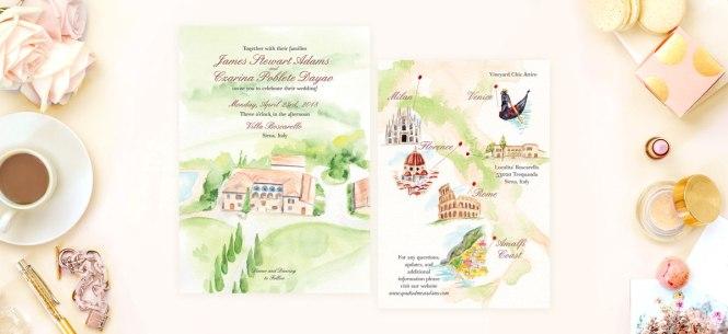 Destination Wedding Invitation In Italy Hand Painted Weddings