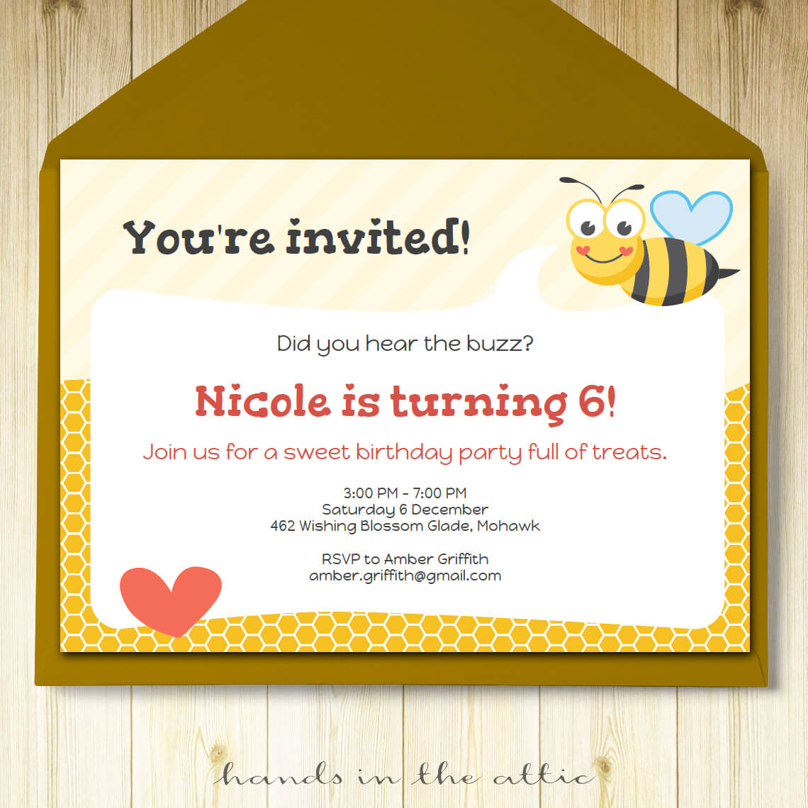 bumble bee party invitation printable template