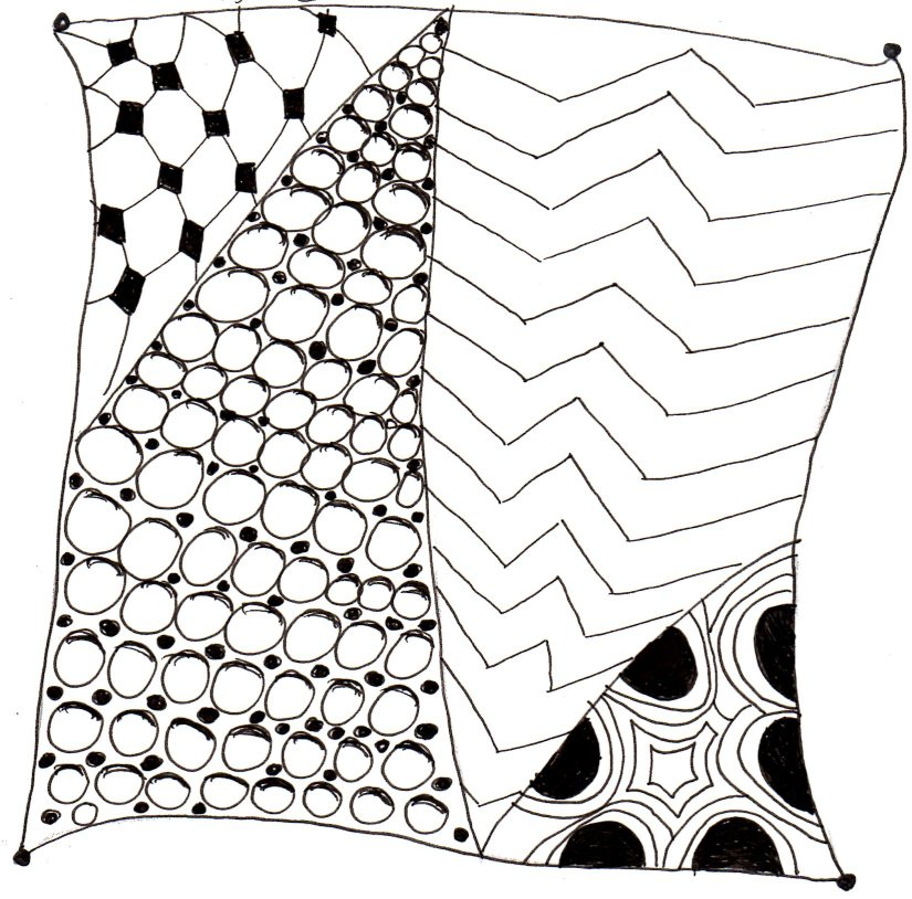 Black and white desing of shapes to make a zentangle.