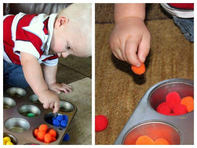 pom poms toddler activity