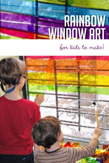 Make a beautiful rainbow on a window! DIY this gorgeous (and easy) springtime craft for kids.