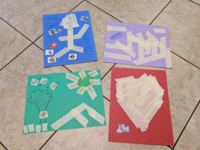 Add a little pizzazz to your peel and stick tape art with stickers and art supplies!