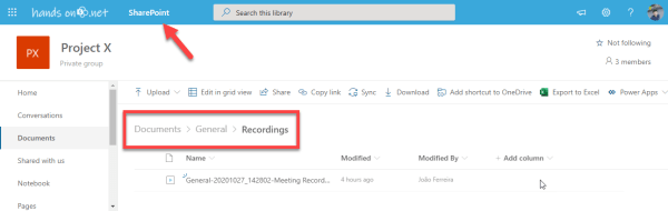 Microsoft Teams meeting recordings in SharePoint