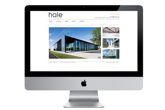 Hale's website screenshot