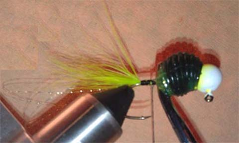 Step 7 in creating a custom handtied jig