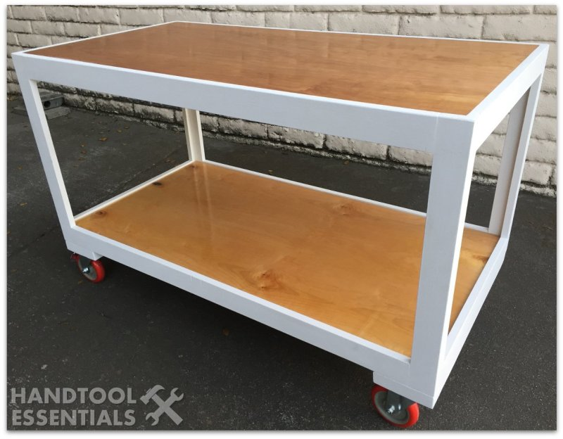 Modern Workbench Wood Cart on Casters