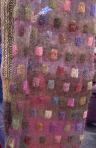 Mohair Wool Mini Squares on Airy Scarf Handwork Homeschool