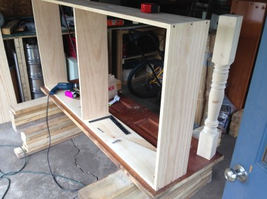 Building the shelving unit for the desk