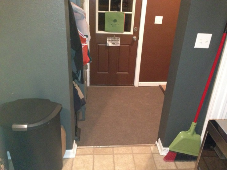 I recommend using indoor outdoor carpet in an entryway
