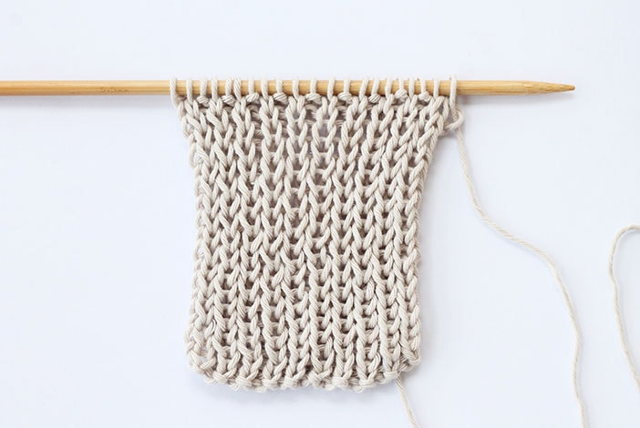 1 x 1 rib stitch knitted swatch example