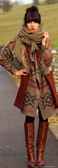 woman wearing a tan aztec coat and knitted scarf in her fall capsule wardrobe