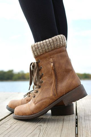 tan boots with knitted cuffs