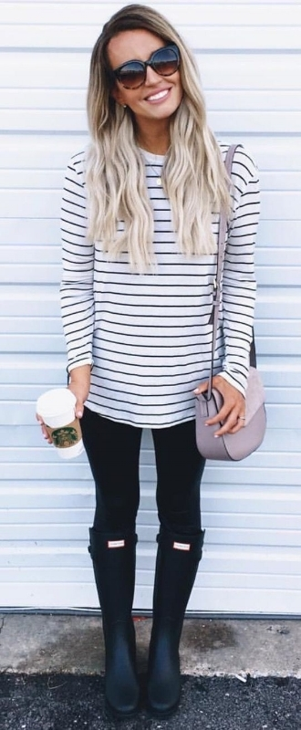 woman wearing a breton long sleeve tee