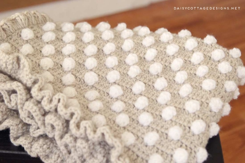 crochet bobble blanket with frilled edge
