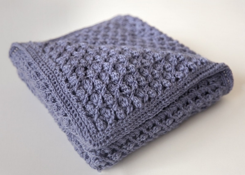 folded crochet blanket