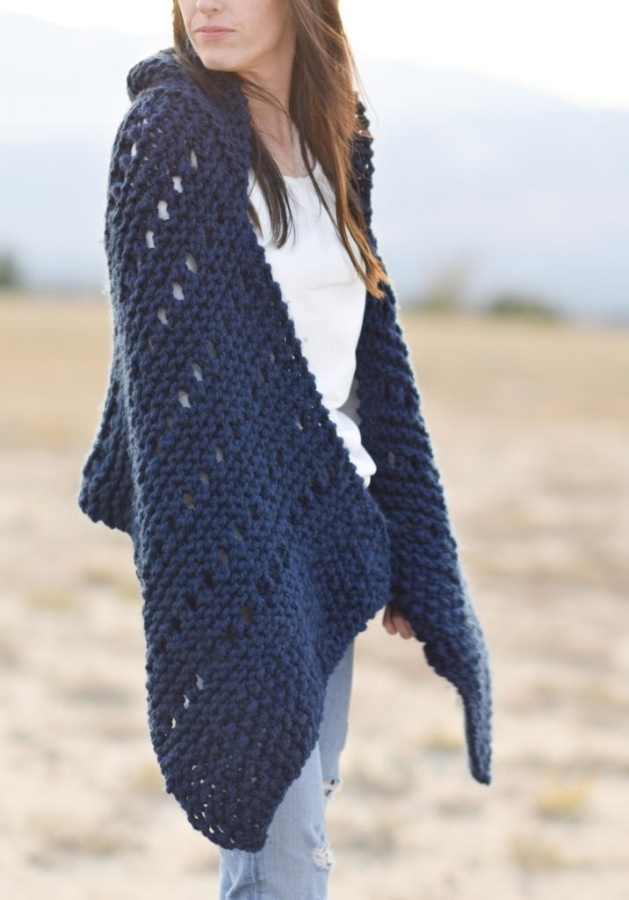 classic knits sweater cape with hood