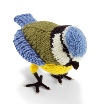 blue tit bird knitted