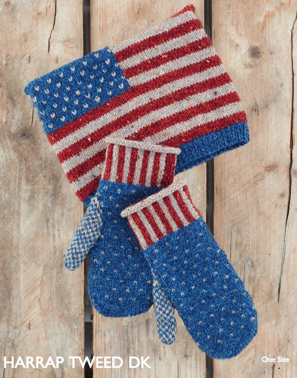 stars and stripes hat and mittens