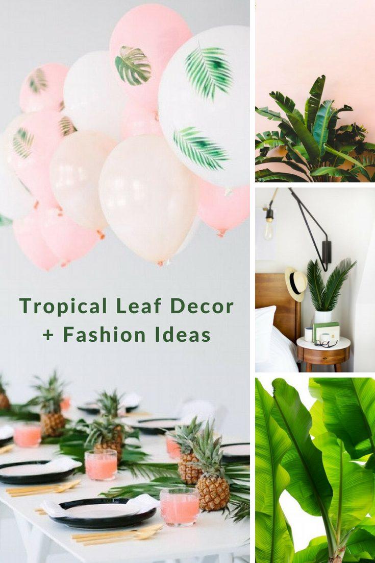 fresh greens and tropical leaf