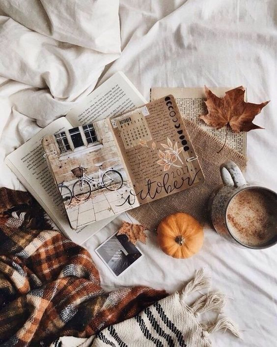 autumn reading with journal, blanket and pumpkin