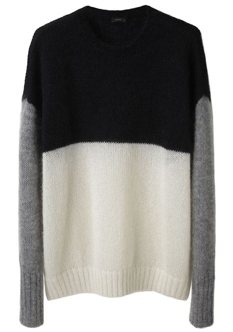 Colourblock sweater in black, grey and white