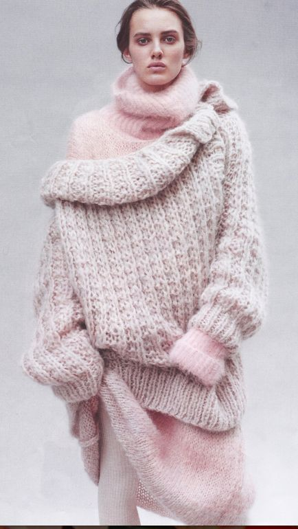 Large pink oversized knit sweater