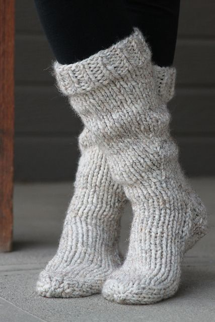 knitted grey chunky socks