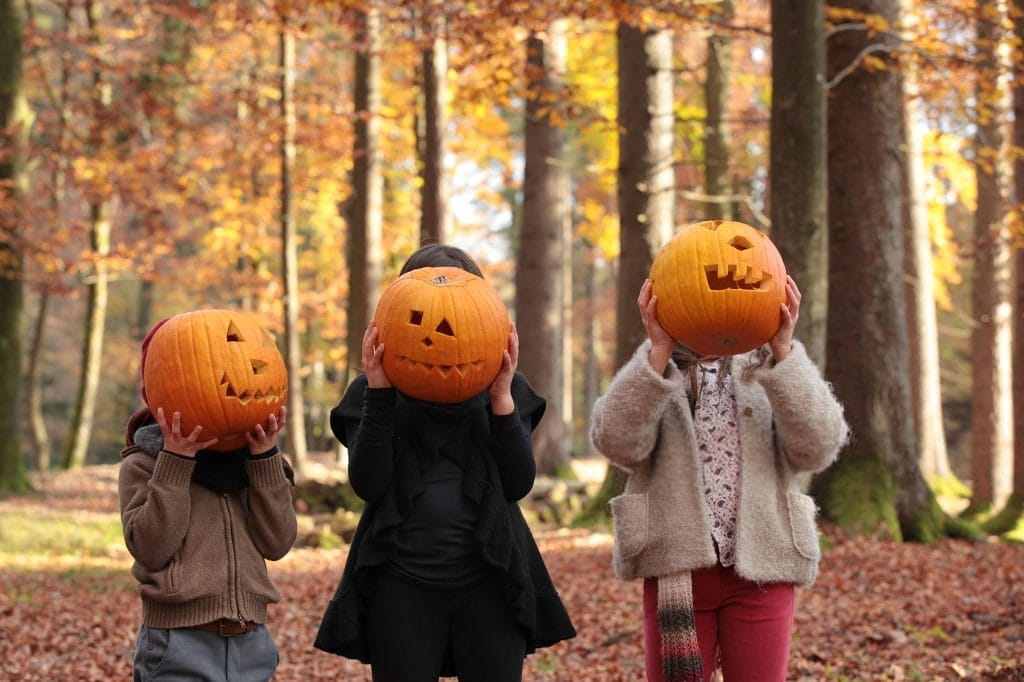 children with pumpkins in a fall forest