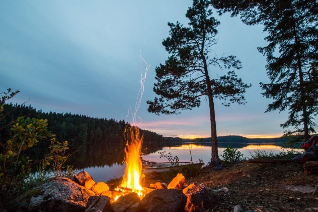 fall activities making a bonfire