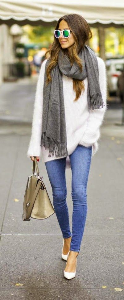 girl wearing a fluffy oversized knit sweater