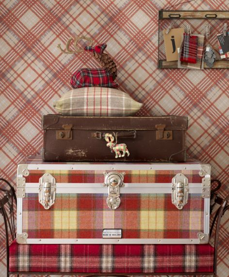 Plaid suitcase and wallpaper