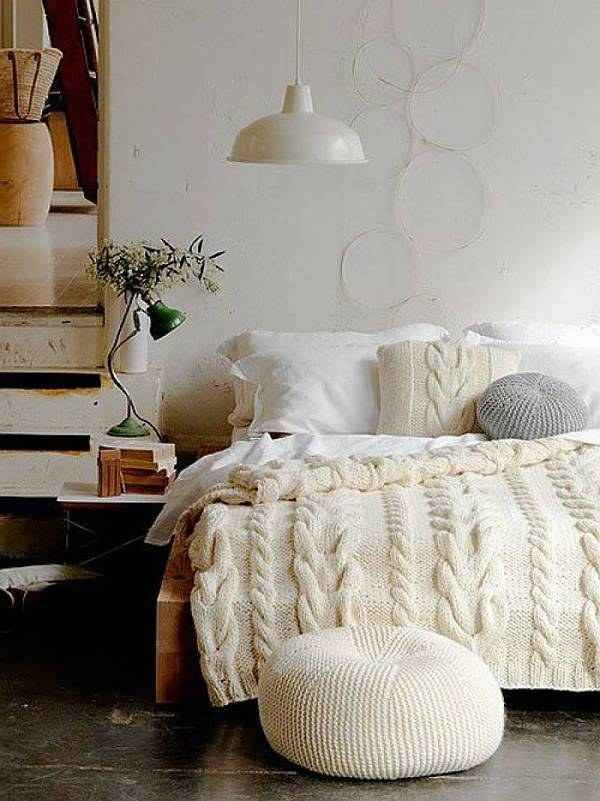 Fall home decor trends including cable knit blankets and poufs