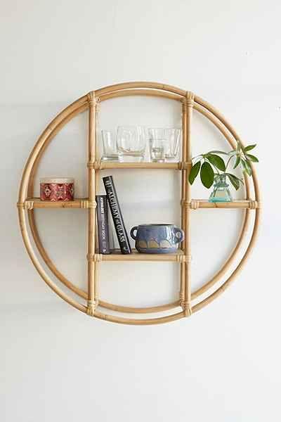 Bamboo circle shelf unit
