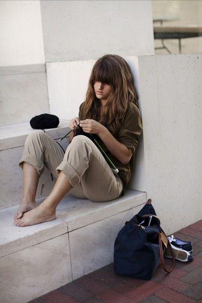 knitting in public