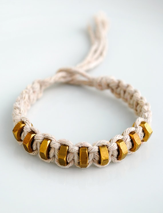 macrame bracelet with gold beads