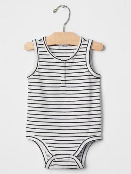 Striped baby romper suit