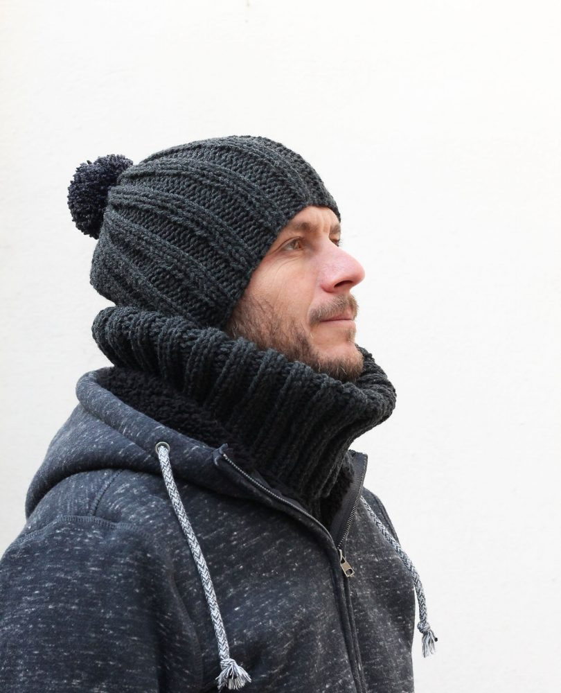 ribbed mens knit hat