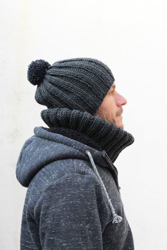 mens knitted ribbed hat