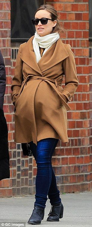 Camel wrap maternity coat