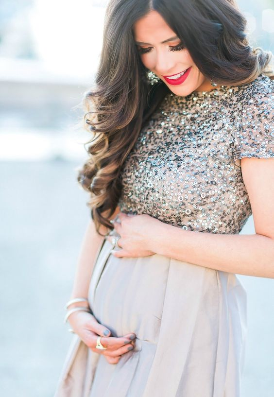gold sequinned maternity dress
