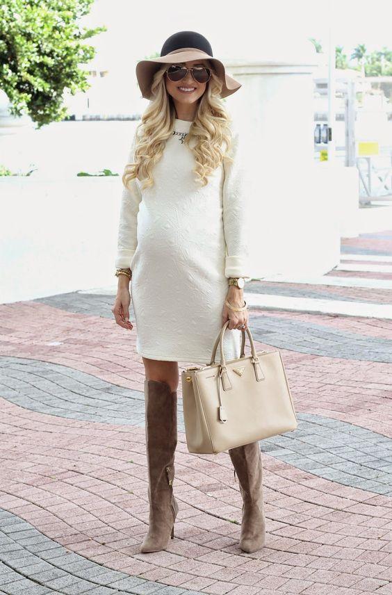 white long sleeved maternity dress