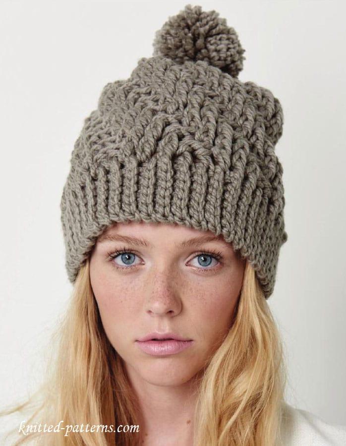 grey crochet hat