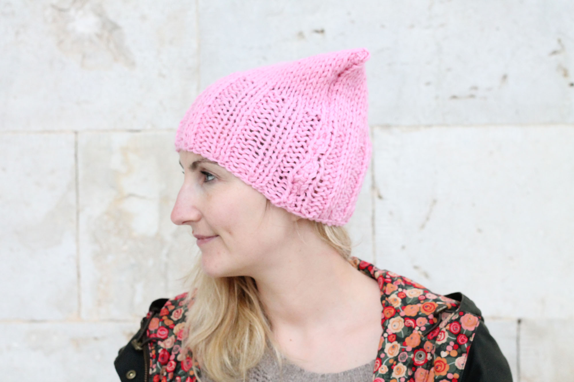 Pink cat hat pattern