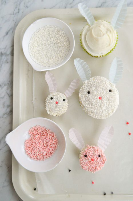 bunny cupcakes made with sprikles and paper ears