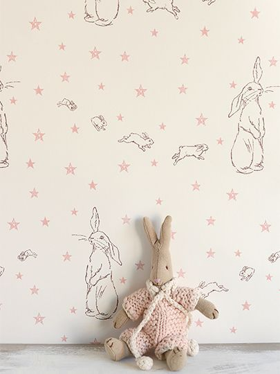 bunny wallpaper in the nursery